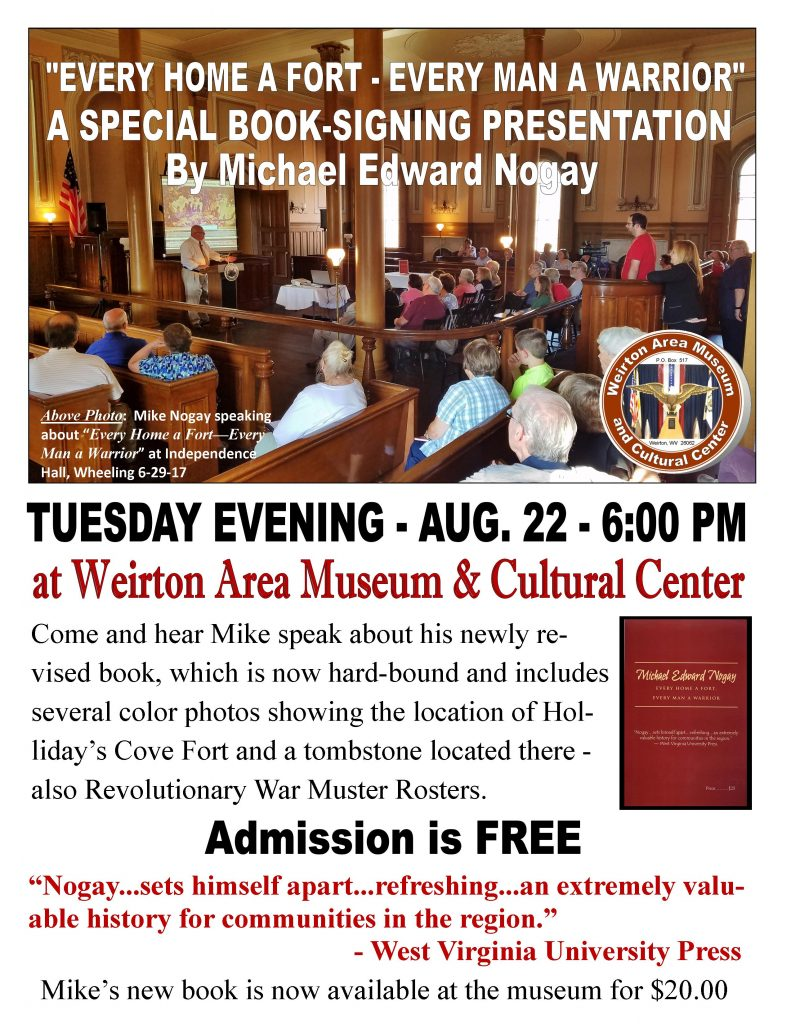 """""""Every Man a Fort - Every Man a Warrior"""" Book-Signing Presentation @ Weirton Area Museum & Cultural Center"""