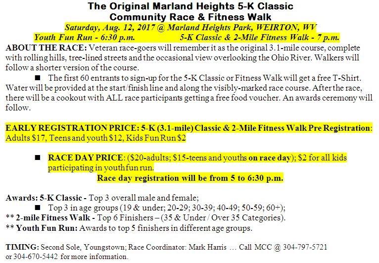 Marland Heights 5K @ Marland Heights Park, Weirton